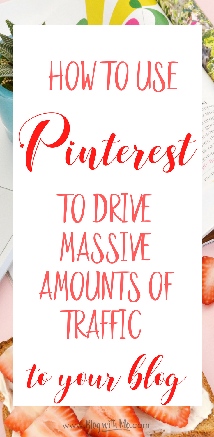How to use Pinterest to drive massive amounts of traffic to your blog. A beginner's guide to using Pinterest for blog traffic. Work from home and make money online by using this manual pinning strategy.