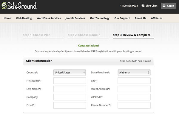 siteground registration