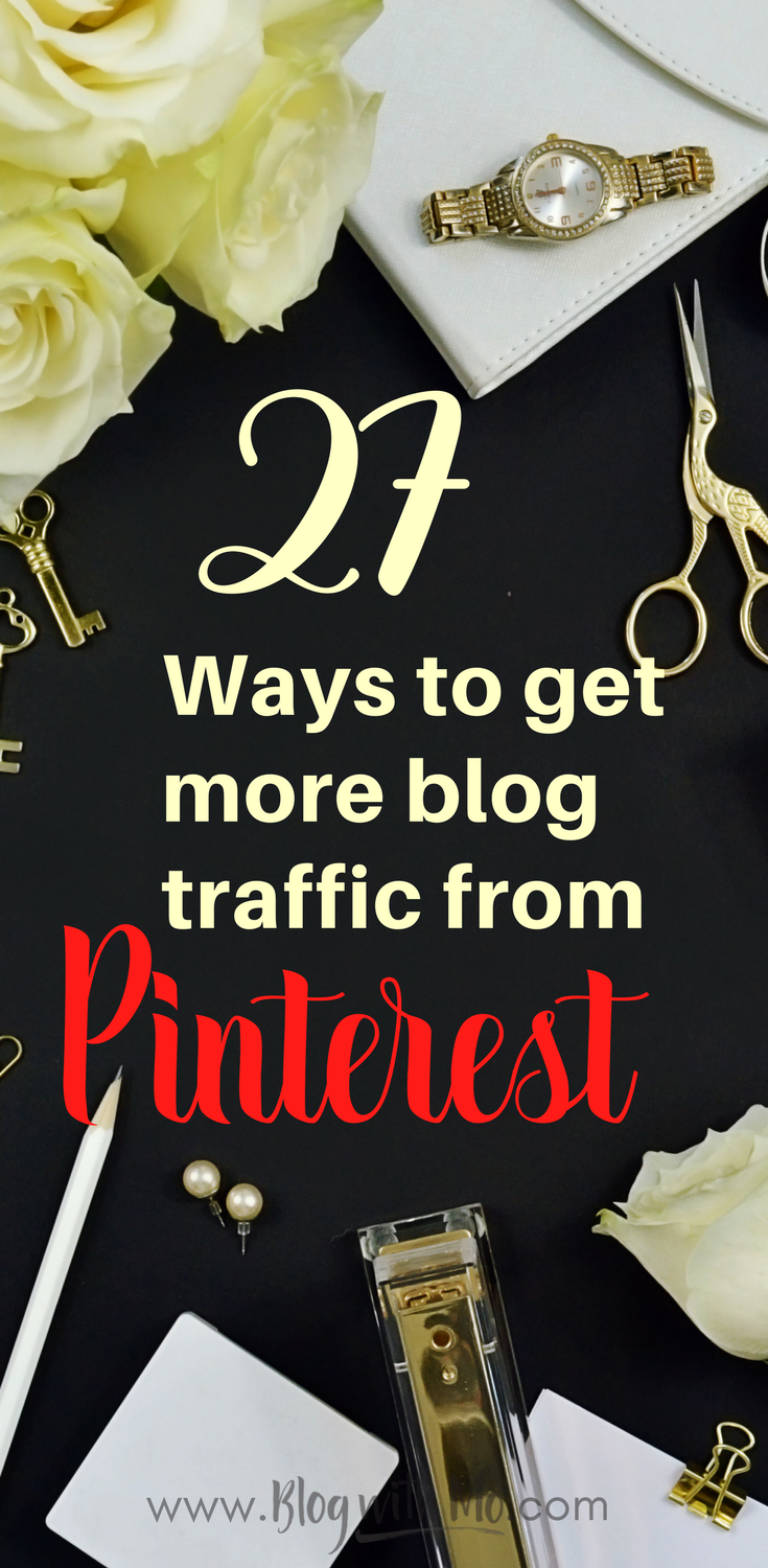 How to get more blog traffic from Pinterest. Everything you need to know to drive massive amounts of traffic to your blog every day.