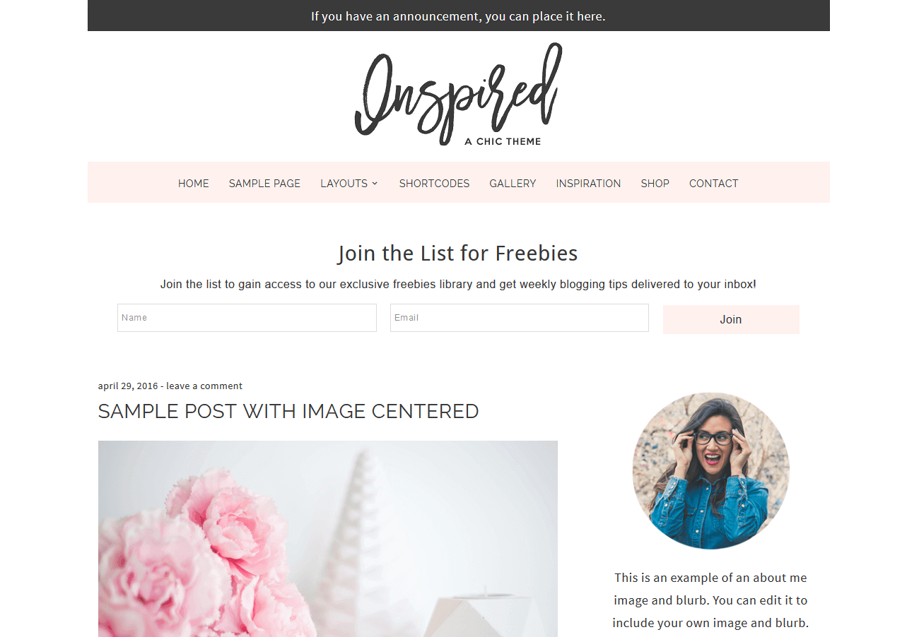 the inspired wordpress theme